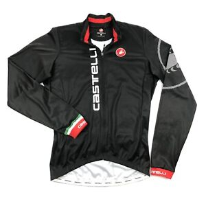 Castelli Mens Large Black Spell Out Logo Long Sleeve Full Zip Cycling Jersey