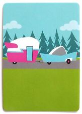 SWAP CARD. ROAD TRIP. CUTE RETRO DESIGN 1950s CAR & CARAVAN. MODERN. WIDE. MINT