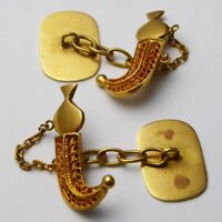 Vintage Gents Rare Indian 22ct Gold Articulated Sheathed Dagger Kukri Cufflinks