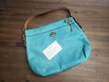 Fossil Leather Turquoise Purse Tote HandBag Women's