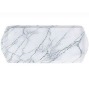 Long Narrow 38cm White Grey Marbled / Marble Tea Coffee Drinks Nibbles Tray