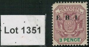 Lot 1351 -Transvaal 1901 3d purple & green mint Shield stamp overprinted E.R.I.