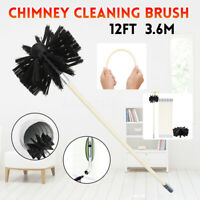 3.6M Drill Chimney Cleaning Kits Flue Brush Cleaner Fireplace Sweep Rotary Rod