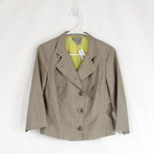 Taupe brown pinstripe wool blend ECCOCI blazer jacket 6