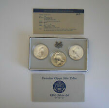 1984 U.S. Uncirculated Olympic Silver Dollar set with mint marks (D,P,S)