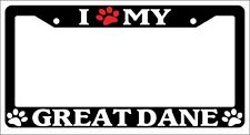 Black License Plate Frame I Heart My Great Dane (Paw) Auto Accessory Novelty 412