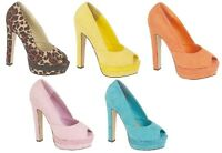 Womens Block Heel Peep Toe Shoes Ladies High Heel Sandals Shoes Size