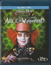 DISNEY ALICE IN WONDERLAND JOHNNY DEPP BLU-RAY/DVD 2 DISC NEAR MINT