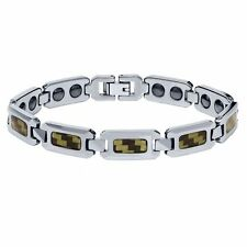 NEW Men's Shiny Tungsten Carbide Bracelet w/ Black & Yellow Carbon Fiber Inlay
