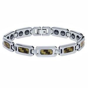 NEW Men's Shiny Tungsten Carbide Bracelet w/ Black & Yellow Carbon Fiber Inlay