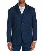 Tallia Mens Sport Coat Blue Size XL Paisley Print Two-Button Stretch $198 #046