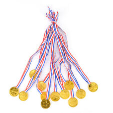 12x Plastic Children Gold Winners Medals Kids Game Sports Prize Awards Party ZB