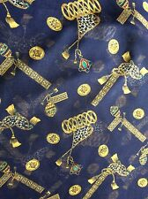 """Rare Classical ornamental chiffon fabric navy blue background, 44"""" wide,sold bty"""