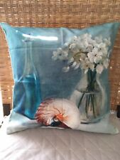 Oil Paint Conch Shell White Flower Blue Vintage Bottle Cushion Cover