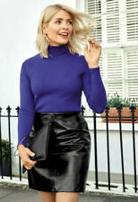 """MARKS AND SPENCER HOLLY WILLOUGHBY PATENT FAUX LEATHER MINI SKIRT 12 LENGTH 21"""""""