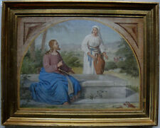 Antique painting. Jesus and the Samaritian woman. Th. Wegener c1865