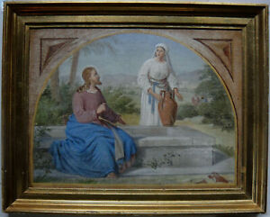 Antique painting. Jesus and the Samaritian woman. Th. Wegener c1865