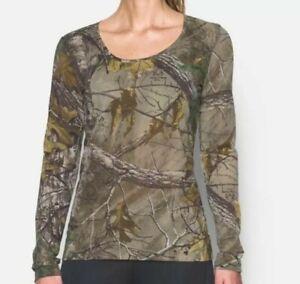 Womens Under Armour UA 1298753-946 Threadborne Realtree AP T-Shirt Camo 2XL