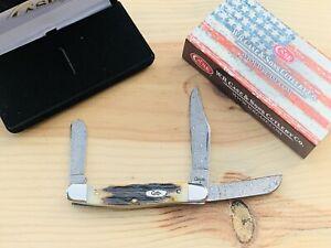 CASE GNARLY SAMBAR INDIA STAG Raindrop Damascus 5347DAM Stockman KNIFE - CA6099