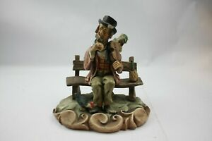 Man with Violin on bench chicken and drink Ornament Figurine Vintage