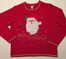 White Stag Santa Claus Christmas Sweater, Red, L Ugly