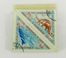 Vintage 35 Fils Stamp Qu'aiti State Hadhramaut Dinosaurs Shark Triangle Stamps