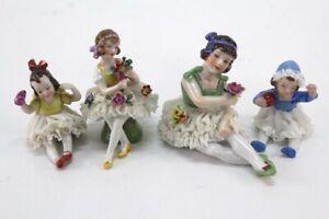 antique LOT of 4 german porcelain girl dolls figurines dresden lace flowers