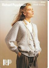 Vintage Knitting Pattern Ladies DK Sideways Knitted Double Breasted Cardi 32-38""