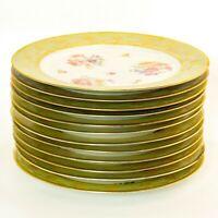 "(12)TIRSCHENREUTH P.T.   Gold Floral Dinner Plates 10.75"""