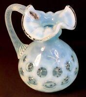 Fenton Art Glass Blue Topaz Opalescent Coin Dot Pitcher