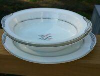 VTG Noritake China #5421 oval serving bowls and platter Crest Floral w/Platinum