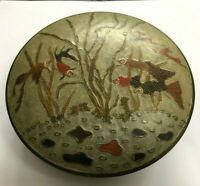Penco Industries enamel metal cloisonne trinket box w/ fish art deco nouveau
