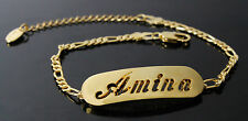 AMINA - Bracelet With Name - 18ct Yellow Gold Plated - Gifts For Her - Fashion