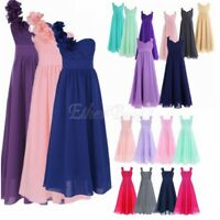 Kids Girls Flower Dress Princess Formal Party Wedding Bridesmaid Chiffon Dresses