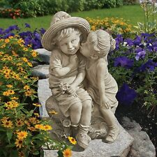 Garden Home Kissing Kid Boy Girl Statue Outdoor Yard Lawn Sculpture Gift Decor
