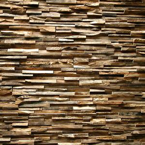 Wandverblender Ero Wandverkleidung Teak Altholz Riemchen Holz Paneele rustikal