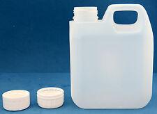 20 x 1 LITRI TANICHE IN PLASTICA naturale con tappi a vite 38 mm Ovatta per imbottiture