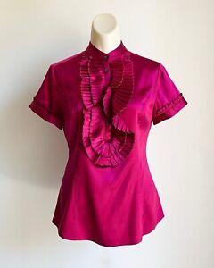 Express Design Studio Women's Fuchsia Silk Blouse Top Size XS