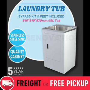 610*510*870mm Laundry Tub Metal Cabinet Stainless Steel Sink 45L Levelling Feet