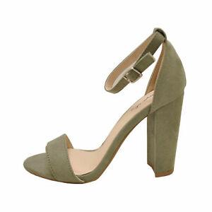 Qupid CASHMERE 01 Khaki  Women's Open Toe Ankle Strap Heels