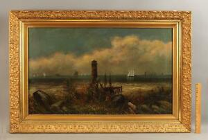 19thC Antique Maritime Folk Art Seascape Painting Sailboat Lighthouse Steamship