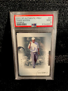 Tiger Woods 2001 Upper Deck SP Authentic Preview SAMPLE Rookie Card #21 PSA 9