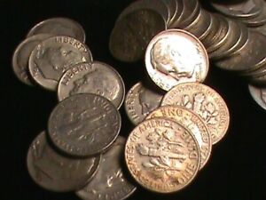 Roll of 90% Silver mixed date Roosevelt Dimes 50 coins total