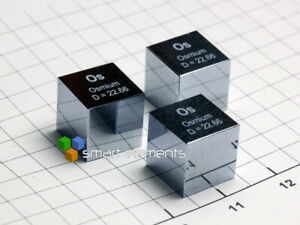 Solid OSMIUM density cube 10x10x10mm - 22.6 grams - Most shiny cubes available!