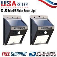 2 Pack 20 LED Solar Power Light Motion Sensor Outdoor Garden Yard Security Lamp