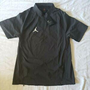 Air Jordan Mens Woven Short Sleeve 1/4 Zip Charcoal Hot Jacket Sz S CD2220-060