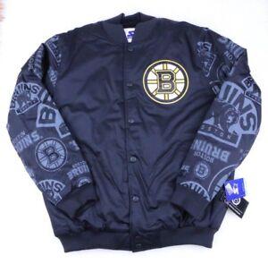 Boston Bruins NHL Starter Retro Satin Snap Winter Jacket Black, Men's Size S