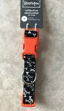 BOOTIQUE Dog Halloween Collar REFLECTIVE SKULL Size Small New