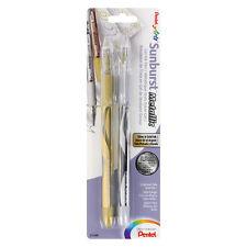 Pentel Arts Sunburst Metallic Gel Ink Pens Medium Line Gold & Silver Ink, 2/Pack