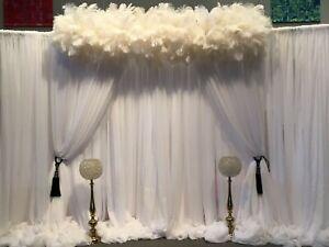 "Wedding Arch Moss Crepe Chiffon Sheer Swag White Drape Stage Backdrop Fabric 44"""